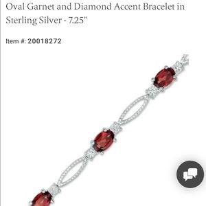 Oval Garnet and Diamond Bracelet - Sterling Silver